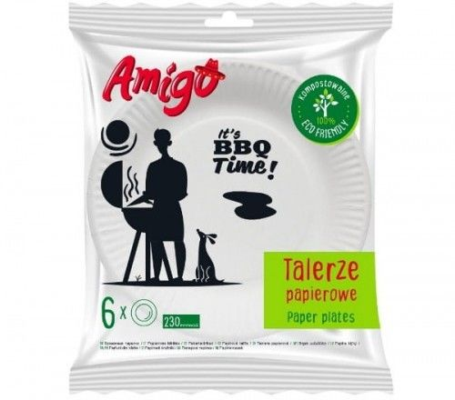 Amigo Amigo Eco Friendly Talerze papierowe duże 230mm 6szt