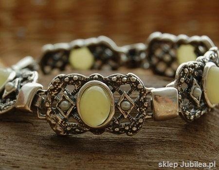 Barocco - srebrna bransoletka z bursztynem i perłami