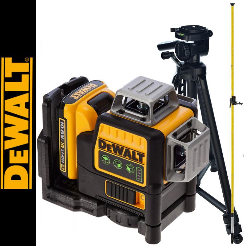 Laser płaszczyznowy DCE089D1G DEWALT + Tyczka 3,3m LP-33 + Statyw 1.4m
