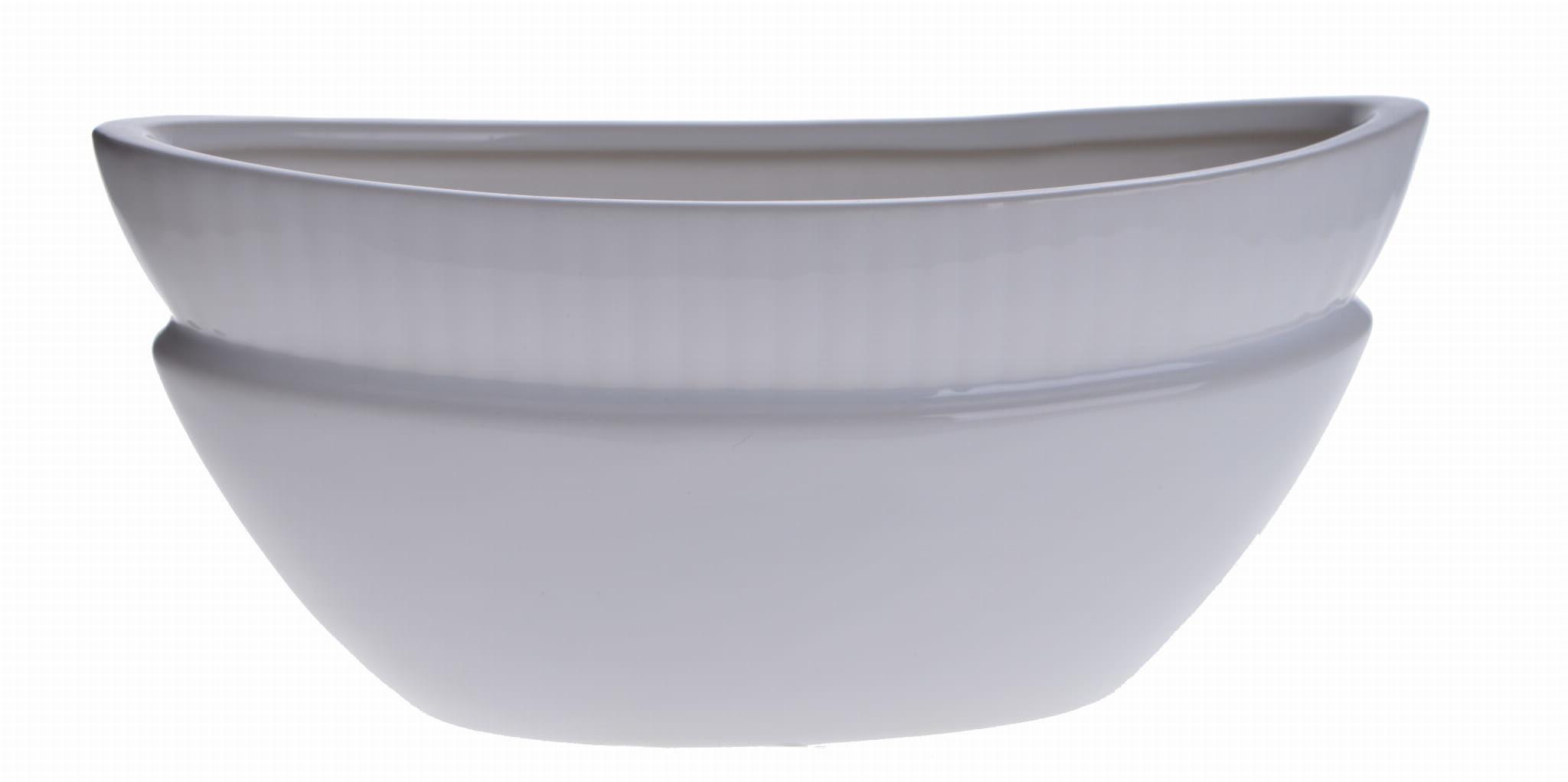 Biały wazon z ceramiki w oryginalnym kształcie