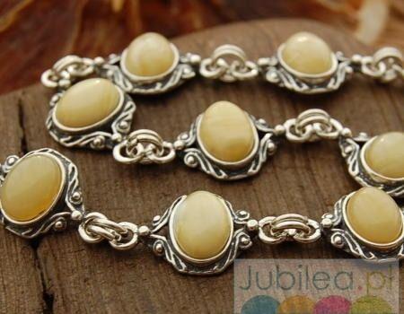 Cambara - srebrna bransoletka z bursztynami