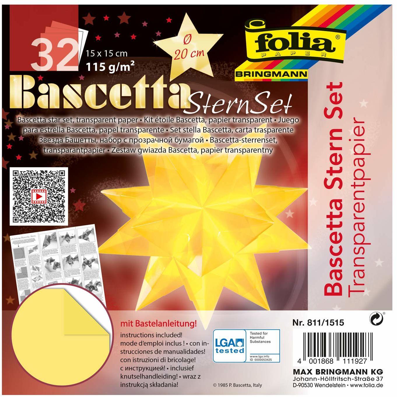 folia 811/1515 Bascetta zestaw, przezroczysty papier, 15 x 15 cm, 115 g/m , 32 arkusze, średnica gwiazdy ok. 20 cm, łącznie z instrukcją majsterkowania, jasnożółty