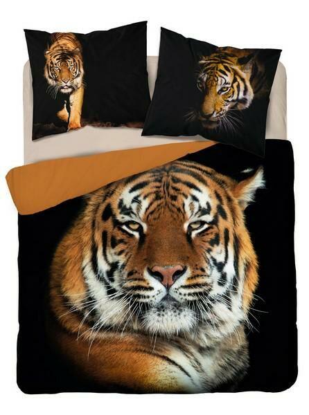 Pościel bawełniana 160x200 3816 A Tygrys czarna ruda młodzieżowa Tygrysy tiger Holland Natura 2