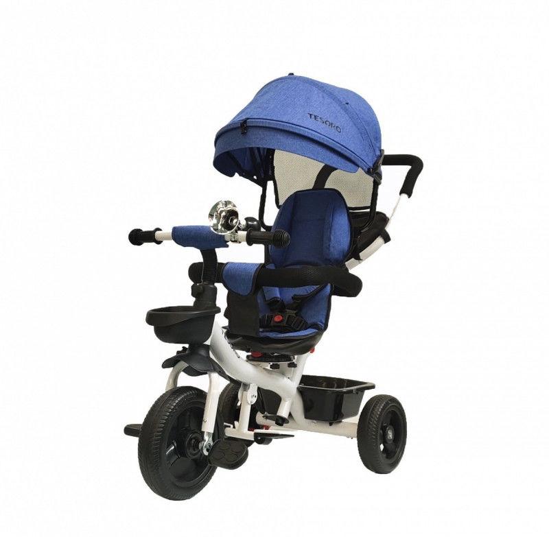 Rowerek trójkołowy obracany 360 BT-13 Biała rama - niebieski