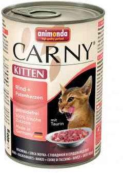 Animonda Carny Wołowina z Sercami Indyczymi Kitten 400 g