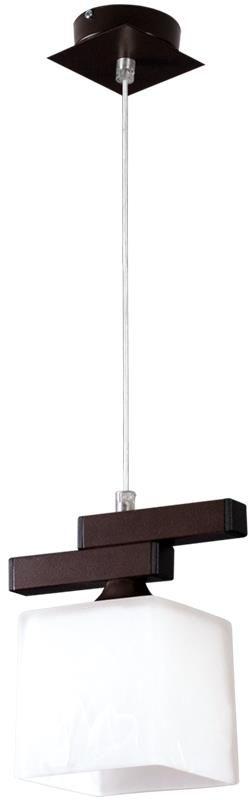 LampexCubo WEN 048/1 lampa wisząca klasyczna oprawa w kolorze wenge metal sześcienny szklany klosz E27 1x60W 91cm