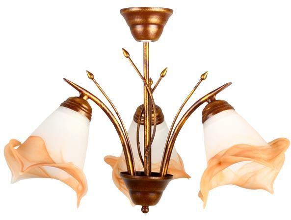 Lampex Panama 3 051/3 B+M żyrandol klasyczna lampa sufitowa z trzema punktami świetlnymi szklane klosze stylizowane na kielich kwiatu E27 3 60W 45cm