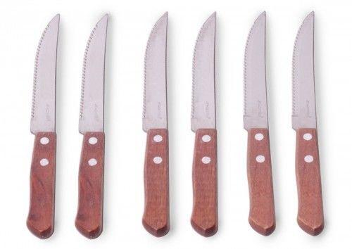 Zestaw noży 6 szt. z drewnianymi rączkami grill
