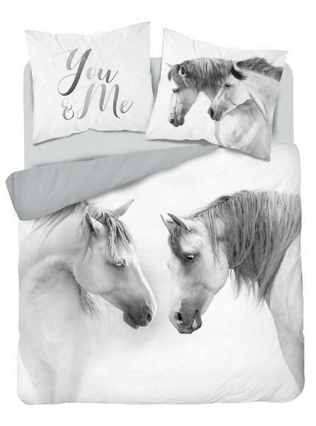 Pościel bawełniana 220x200 3819 A Konie koń biała szara młodzieżowa konik kucyk horse Holland Natura 2