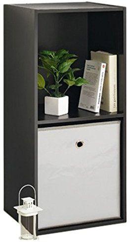 Modul''Home 6RAN619BC  regał w kształcie kostki, 2 półki, MDF, 29,5 x 36,5 x 77,5 cm, czarny, HT77,5 x 36,5 x 29,5 cm