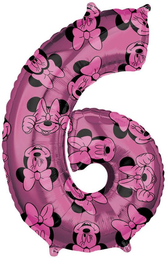 Balon foliowy cyfra 6 Myszka Minnie - 66 cm - 1 szt.