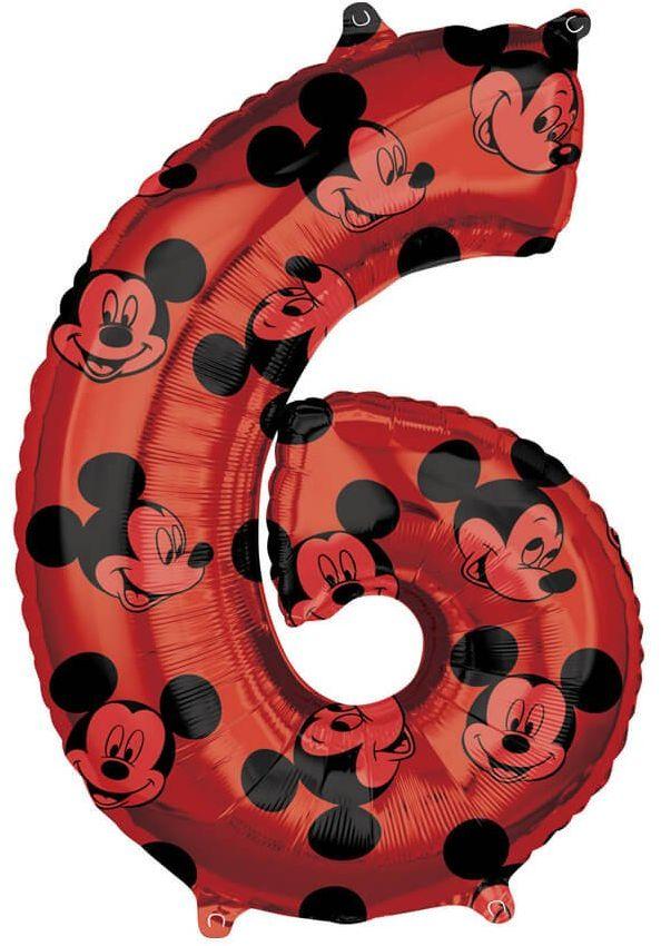 Balon foliowy cyfra 6 Myszka Mickey - 66 cm - 1 szt.