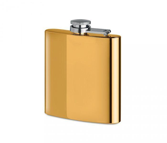 Piersiówka stalowa złoty chrom 180 ml FLASKY (złoty)
