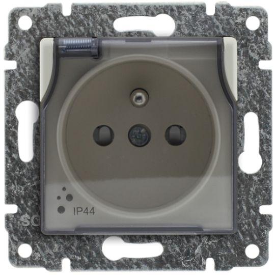 VENA Gniazdo bryzgoszczelne z/u IP44 z przesłonami klapka transparentna krem 510339