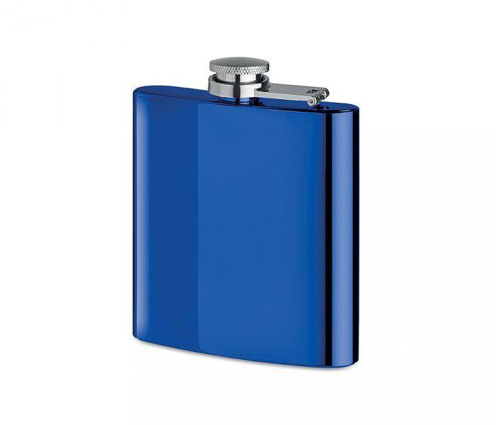 Piersiówka stalowa niebieski chrom 180 ml FLASKY (niebieski)