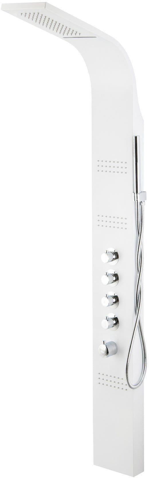 Corsan Kaskada panel prysznicowy z termostatem biały A-013AT NEW LED BIEL