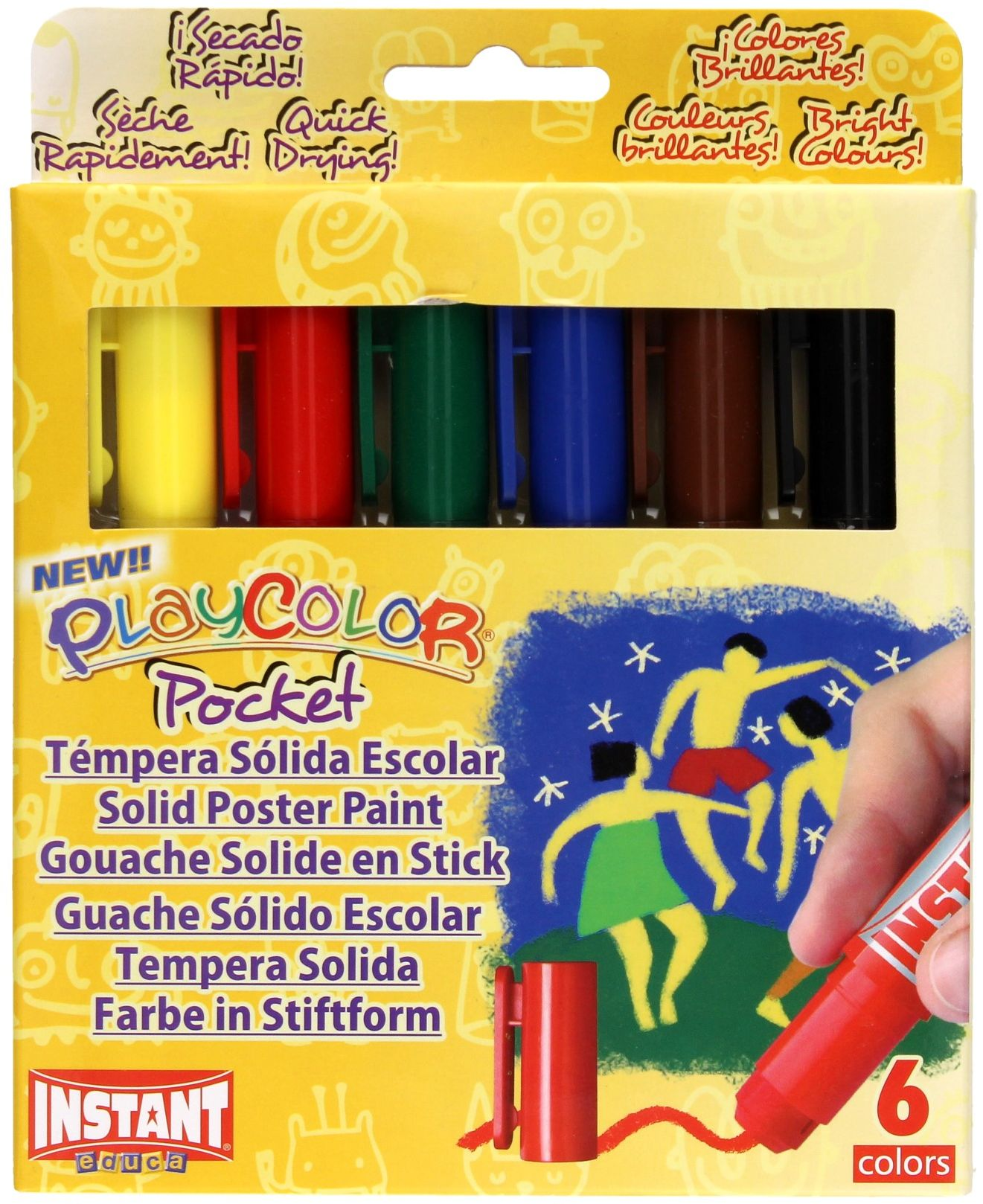 Farby w sztyfcie 6kol Instant Playcolor 10511