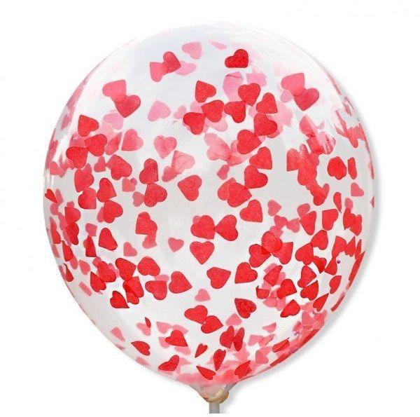 Balony z konfetti czerwone serduszka 30cm 5 sztuk BAL108-5x