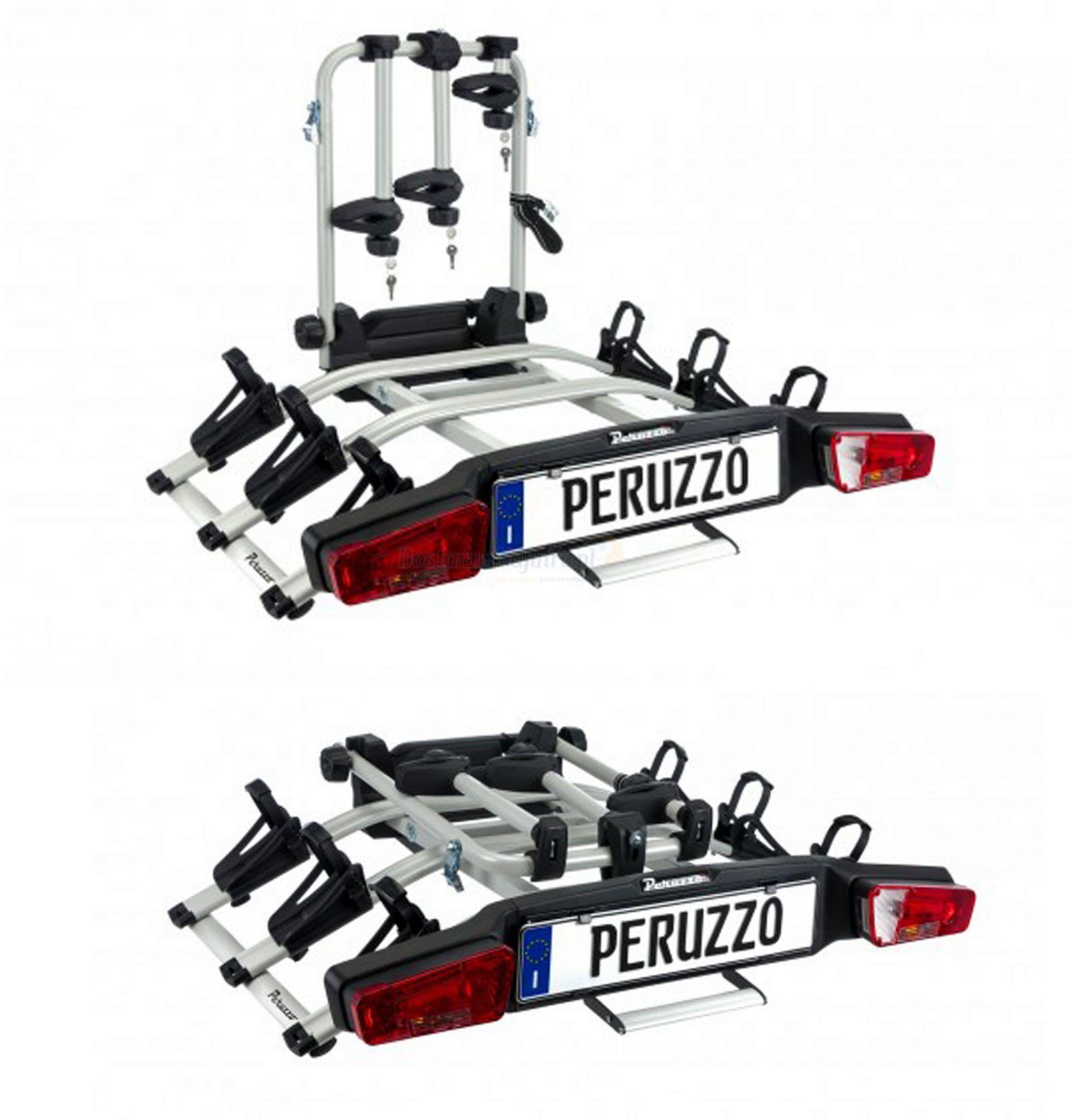 Bagażnik rowerowy składany Peruzzo Zephyr platforma na hak do przewozu 3 rowerów