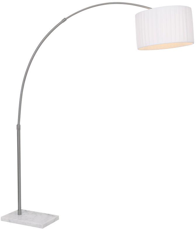 Globo lampa podłogowa La Nube 58226 wędka podstawa marmurowa biały plisowany abażur