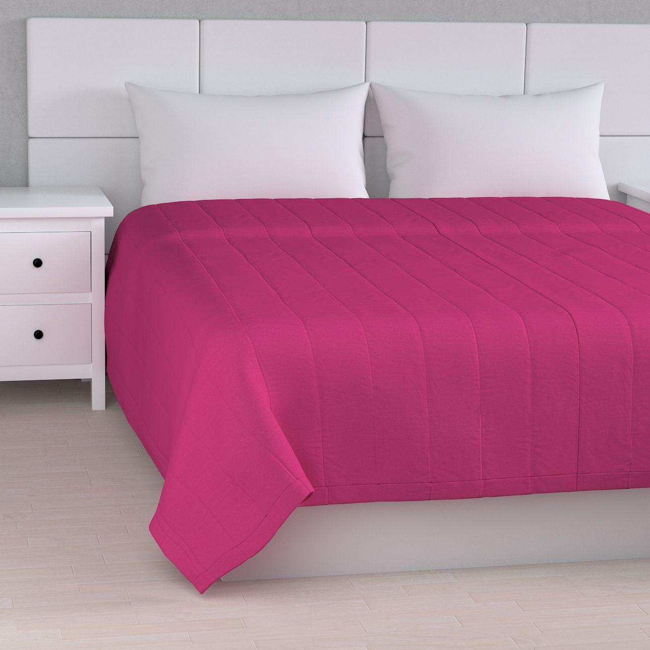 Narzuta pikowana w pasy, różowy, szer.170  dł.210 cm, Loneta