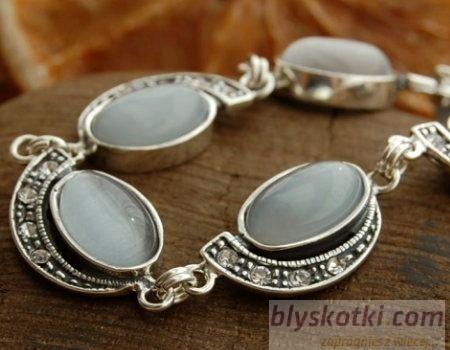 Ponti - srebrna bransoletka z kocim okiem i kryształami