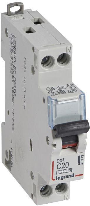 Wyłącznik nadprądowy 1P+N C 20A 6kA S 301N DX3 407743