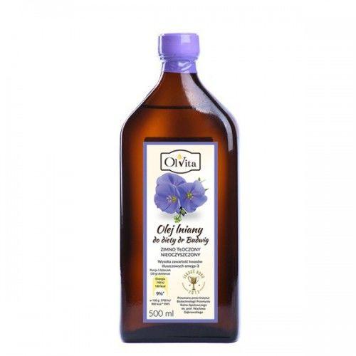 Olej lniany budwigowy 500ml - TŁOCZONY NA ZIMNO
