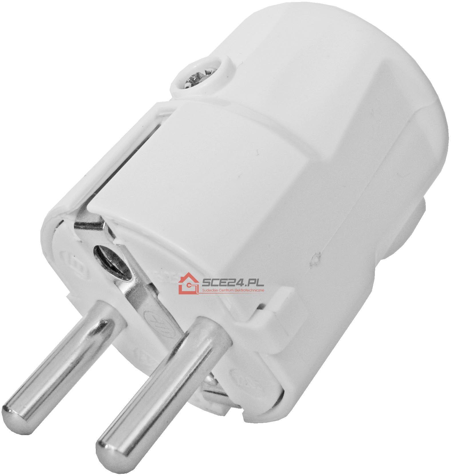 Wtyczka kątowa biała 230V unischuko