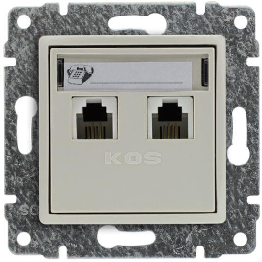 VENA Gniazdo telefoniczne podwójne 2xRJ11 krem 510364