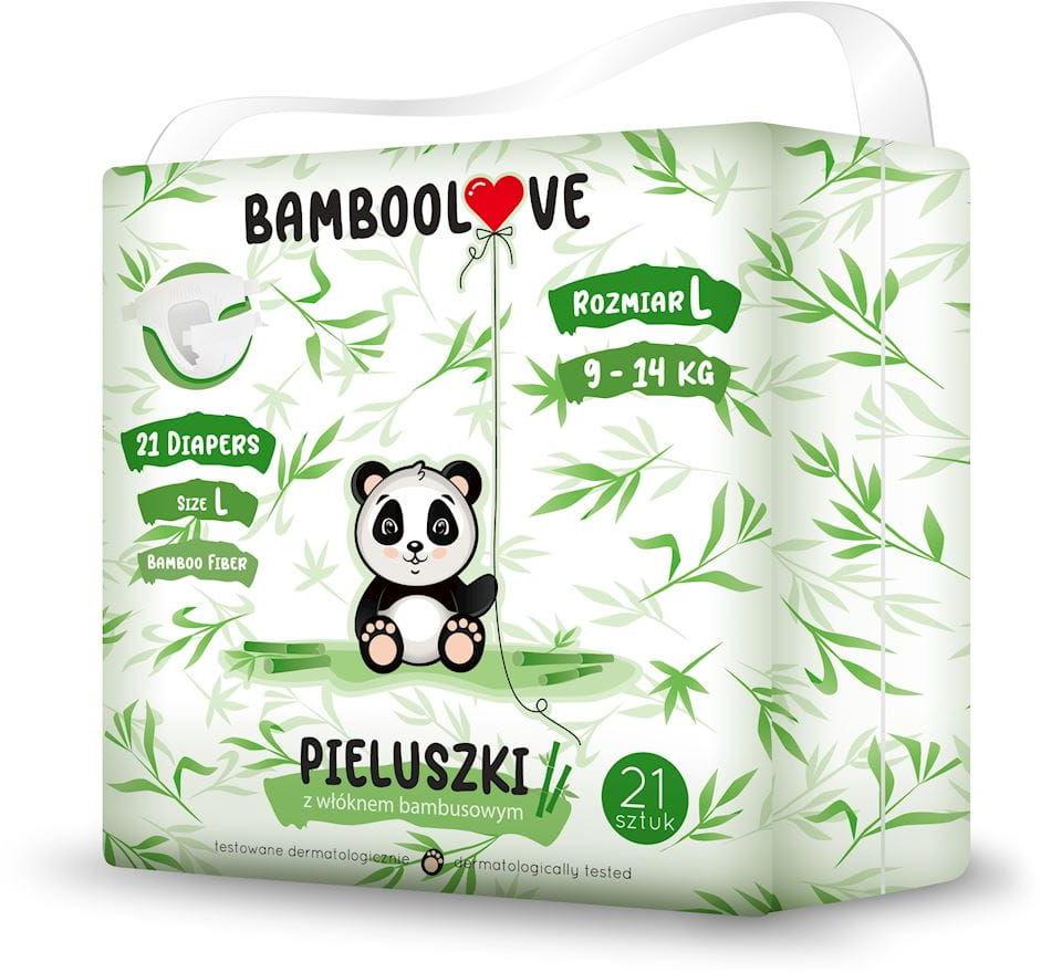 Pieluchy z włóknem bambusowym rozmiar l 9 - 14 kg (21 szt.) - bamboolove
