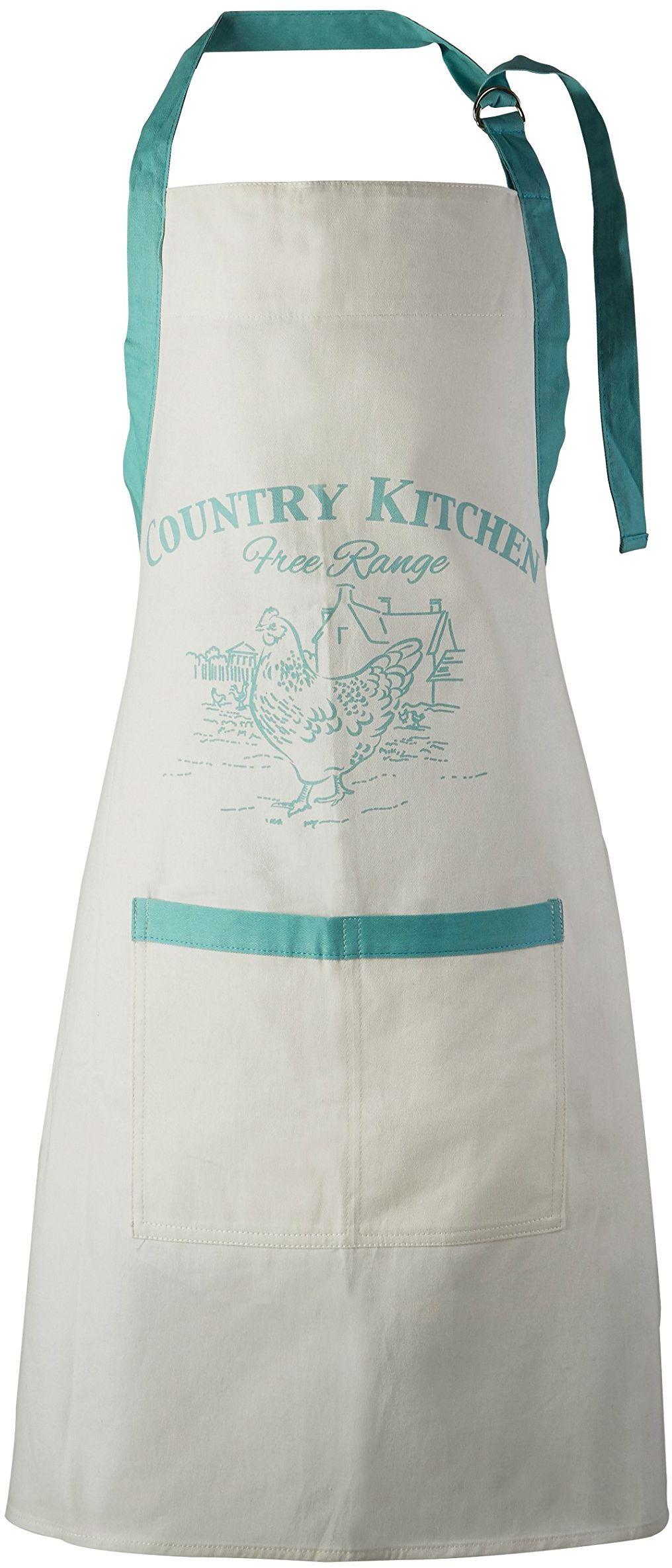 Premier Housewares Fartuchy dla kobiet 100% bawełna fartuch do pieczenia pasek na szyję morski fartuchy kuchenne fartuch do gotowania dla nastolatków biały bawełniany fartuch 87 x 69 cm