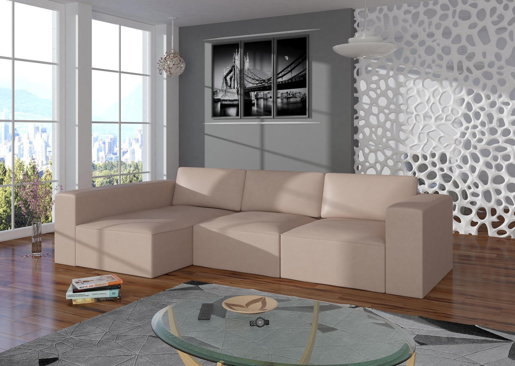 Nowoczesny narożnik PRESTIGE funkcja spania sofa