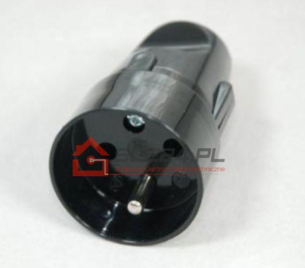 Gniazdo z uziemieniem czarne 16A 230V