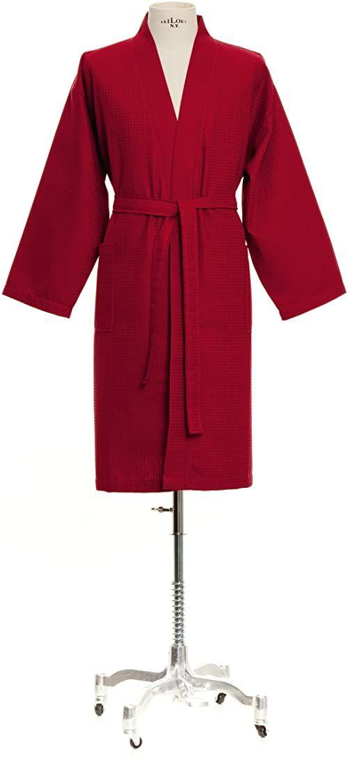 Möve Homewear Kimono piquée waflowe w rozm. XL ze 100% bawełny, ruby