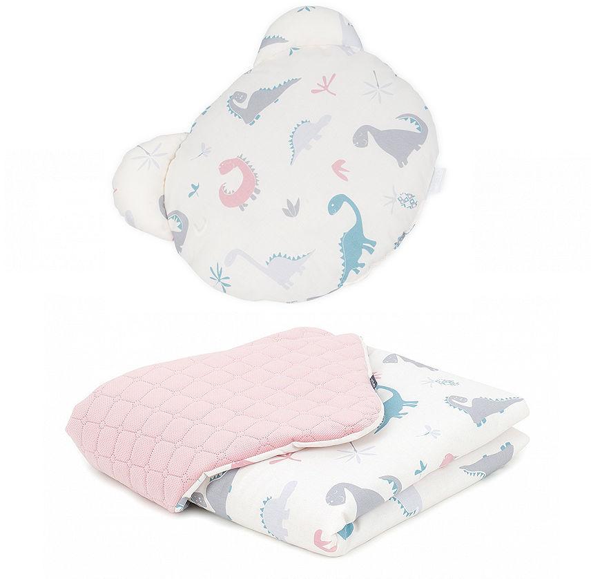 MAMO-TATO Kocyk dla niemowląt z poduszką MIŚ - Dinusie / różany