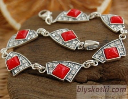 Moroni - srebrna bransoletka z koralem i kryształkami