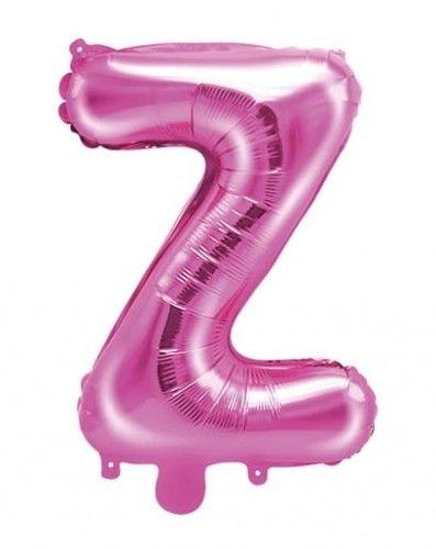 Balon foliowy w kształcie litery Z, ciemno różowy