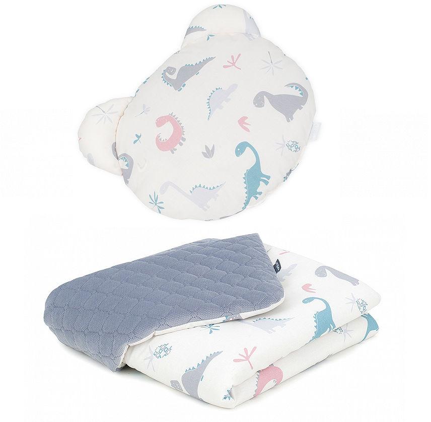 MAMO-TATO Kocyk dla niemowląt z poduszką MIŚ - Dinusie / szary