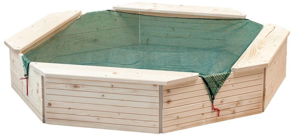 Woody Piaskownica drewniana, 130 x 130 x 27 cm