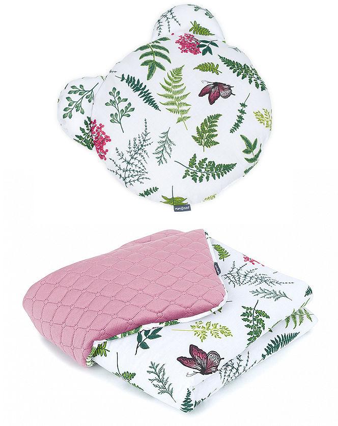 MAMO-TATO Kocyk dla niemowląt z poduszką MIŚ PREMIUM - Paprotki / brudny róż