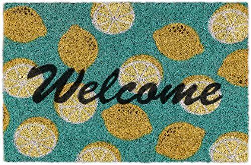 Relaxdays Wycieraczka kokosowa, napis Welcome i motyw cytryny, wycieraczka do drzwi wewnątrz i na zewnątrz, mata kokosowa 40 x 60 cm, zielona/żółta, 1 sztuka, 10035510
