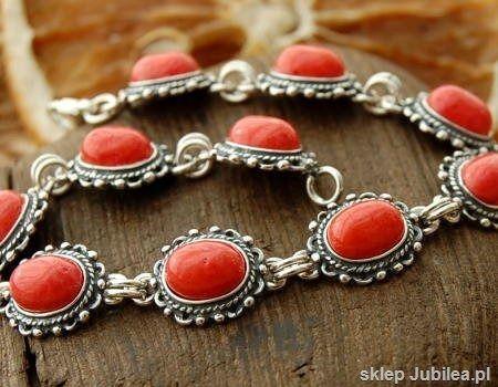 Bodila - srebrna bransoletka z koralem