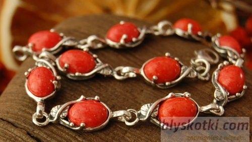 Bibina - srebrna bransoletka z koralami
