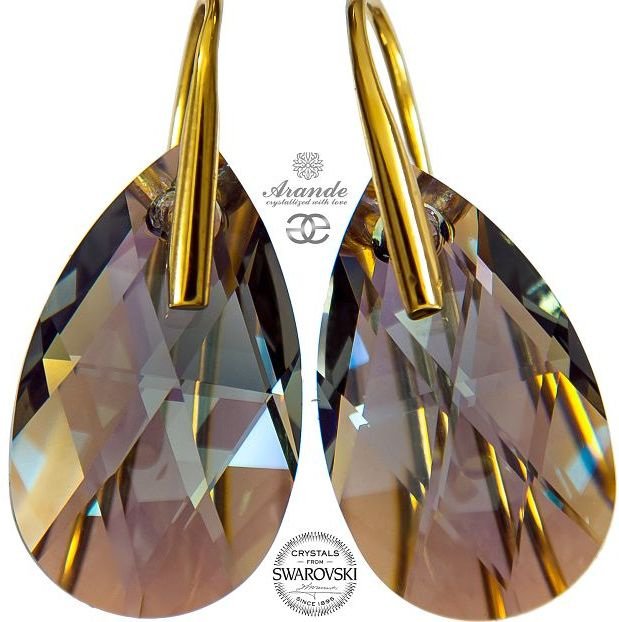 SWAROVSKI kolczyki BLACK DIAMOND SHIMMER GOLD ZŁOTE SREBRO