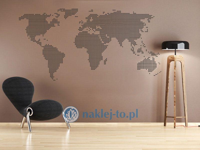 naklejka dekoracyjna Mapa świata 3 kółka naklejka na ścianę