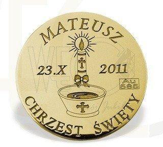 """Grosz """"na szczęście"""" ze złota d-3z doskonały prezent na chrzest"""