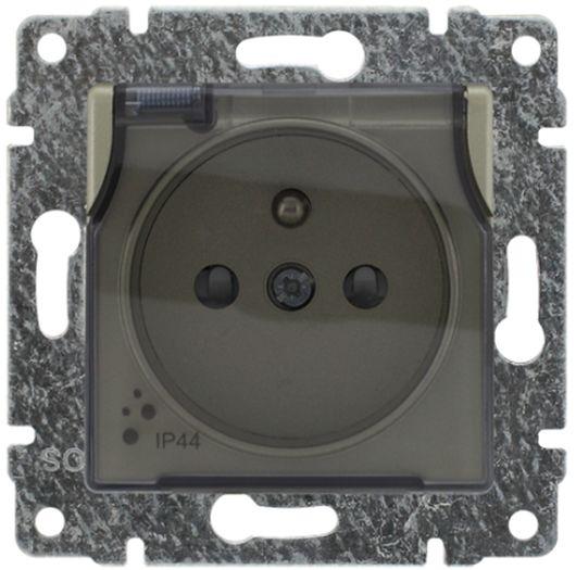 VENA Gniazdo bryzgoszczelne z/u IP44 z przesłonami klapka transparentna satyna 515039
