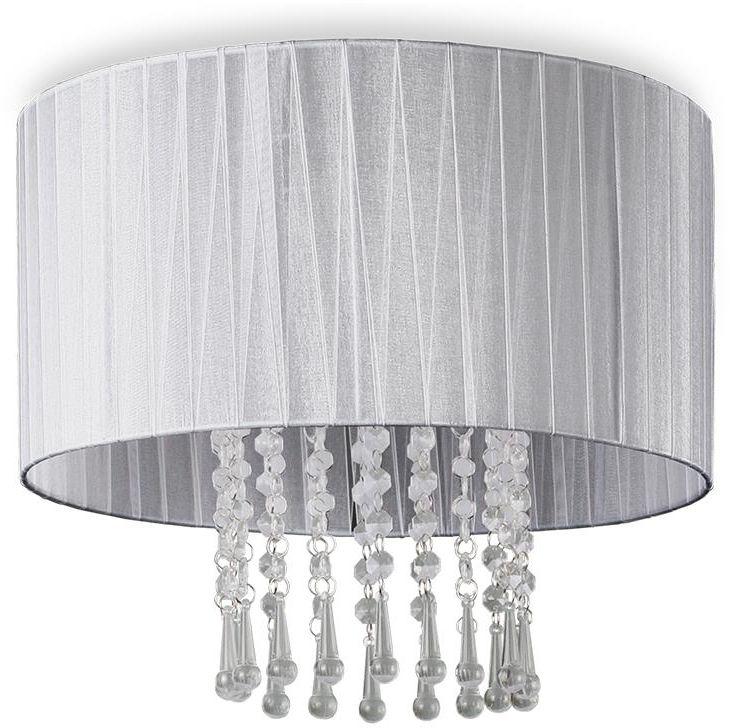 Lampex Wenecja Popiel 153/1P POP plafon lampa sufitowa nowoczesna popiel kryształki abażur tkanina E27 1 60W 36cm