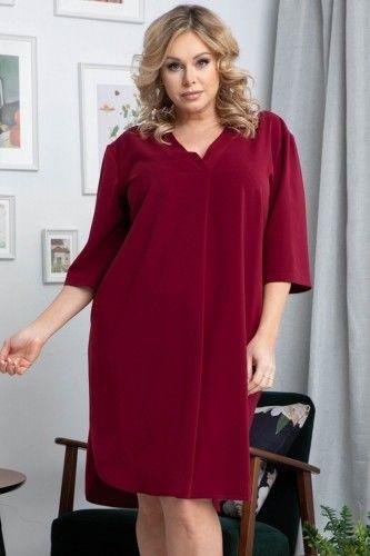 Sukienka modna swobodna PADWA dłuższy tył bordowa